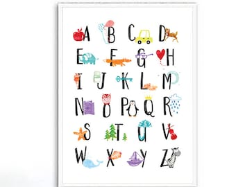 Alphabet Print, Alphabet Nursery Wall Art, Alphabet Poster ABC Wall Art Kids  Room Decor