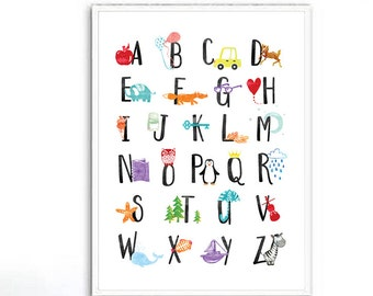Alphabet Print, Alphabet Nursery Wall Art, Alphabet Poster ABC Wall Art Kids Room Decor Animal Nursery Decor Kids Wall Art Printable ABC Art