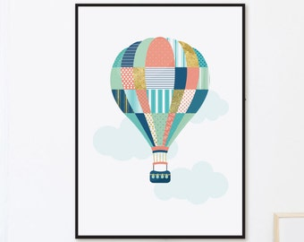 Hot Air Balloon Nursery Wall Art, Scandinavian Nursery Art, Modern Nursery Decor, Balloon Nursery Print, Kids Room Art, Baby Room Printable