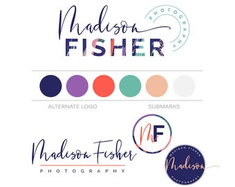 Modern Logo Kit, Photography Branding Package Custom Logo Brand Kit Business Logo and Watermark Minimal Branding Kit Makeup Artist Blog Logo