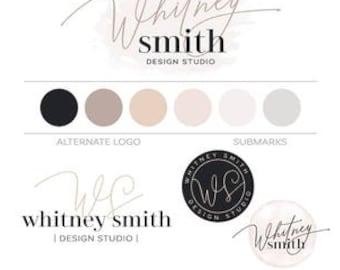 Watercolor Logo Brand Kit, Minimalist Script Logo Blush Branding Package Modern Logo, Premade Logo Design Blog Kit Fashion Boutique Logo