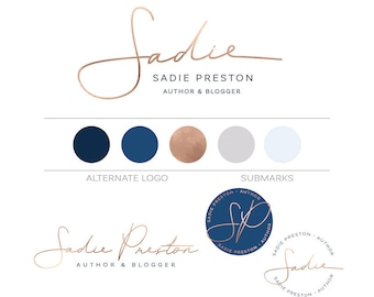 Custom Branding Package, Minimalist Logo Design, Photography Logo Custom Logo Branding Kit, Rose Gold Logo Makeup Artist Logo Lifestyle Logo