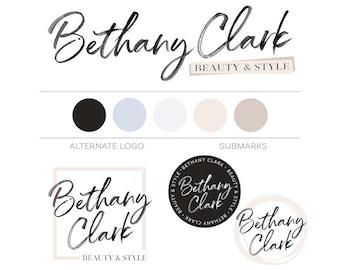 Premade Branding Package Modern Logo Design Photography Logo Watermark Minimal Branding Kit Watercolor Logo Pack Beauty Fashion Blogger Logo