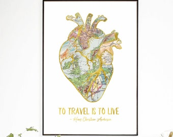 To Travel Is To Live, Vintage Map Art Print, Travel Map Print, Gold World Map Poster, Travel Decor, Travel Gift, Gold Foil Travel Printable