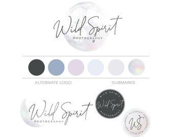 Moon Logo Branding Package, Boho Logo Design, Photography Watermark Logo Moon Branding Set Elegant Logo, Bohemian Logo, Boutique Script Logo