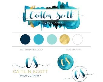 Ombre Branding Kit, Teal Gold Watercolor Modern Custom Logo Design Branding Package, Photography Logo Watermark, Fashion Boutique Logo Stamp