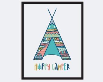 Happy Camper Print, Bohemian Nursery Wall Art, Mint Coral Gold Teepee Print Boho Nursery Art Tribal Nursery Decor Outdoors Nursery Adventure