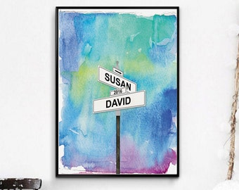 Custom Wedding Gifts Personalized Wedding Gifts for Couple, Love Intersection Art Print, Paper Anniversary, Mr and Mrs Gift, Valentines Gift