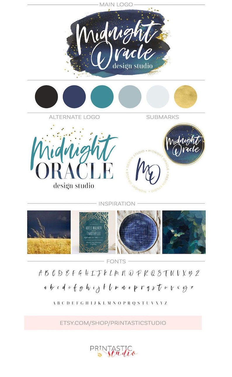 Watercolor Logo Kit Gold Navy Logo Design Custom Branding image 0