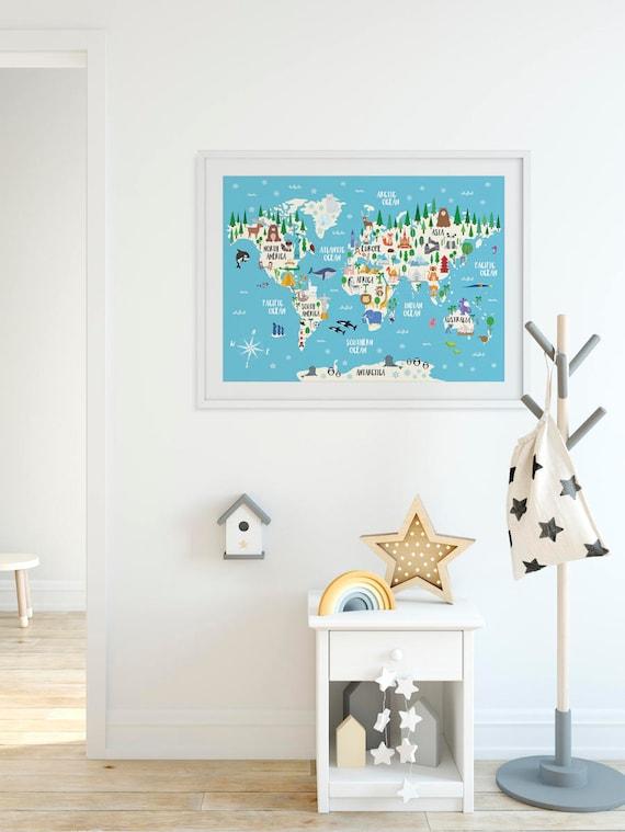 Animal World Map Print Kids World Map Poster Nursery World | Etsy