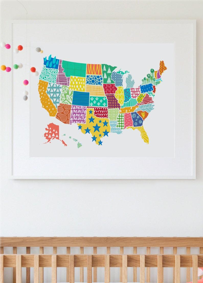 Us Map Print Usa Map Wall Art Kid S Room Art Print Usa Etsy
