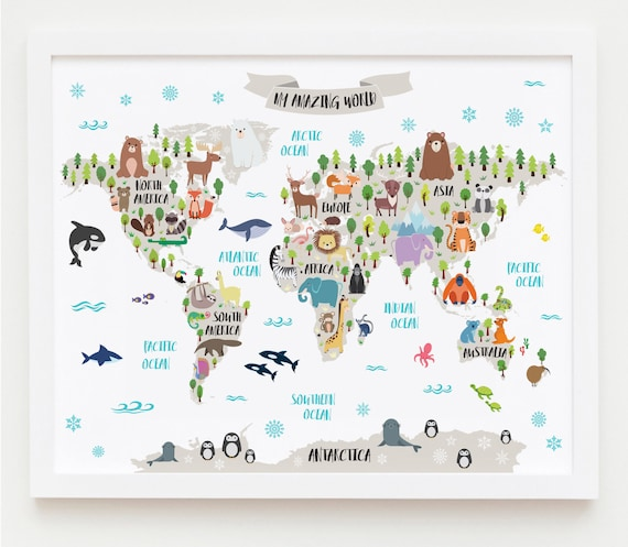 image relating to Printable Map for Kids named Nursery Printable, Animal International Map Children Global Map Poster Nursery Worldwide Map Boy or girl Space Map Children Map Artwork Animal Nursery Decor One of a kind Child Reward