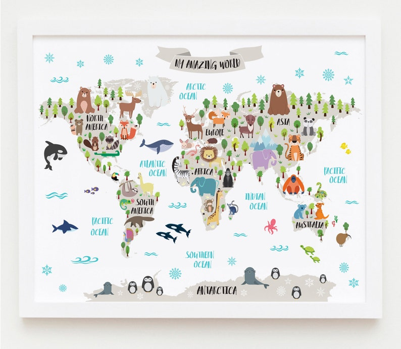 Kindergarten bedruckbar Tier Weltkarte Kinder Weltkarte | Etsy