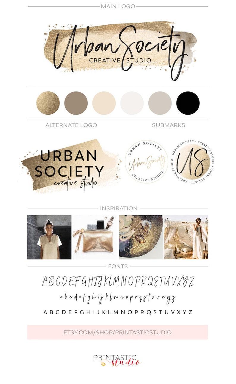 Gold Foil Brush Stroke Logo Premade Branding Kit Gold Glitter image 0