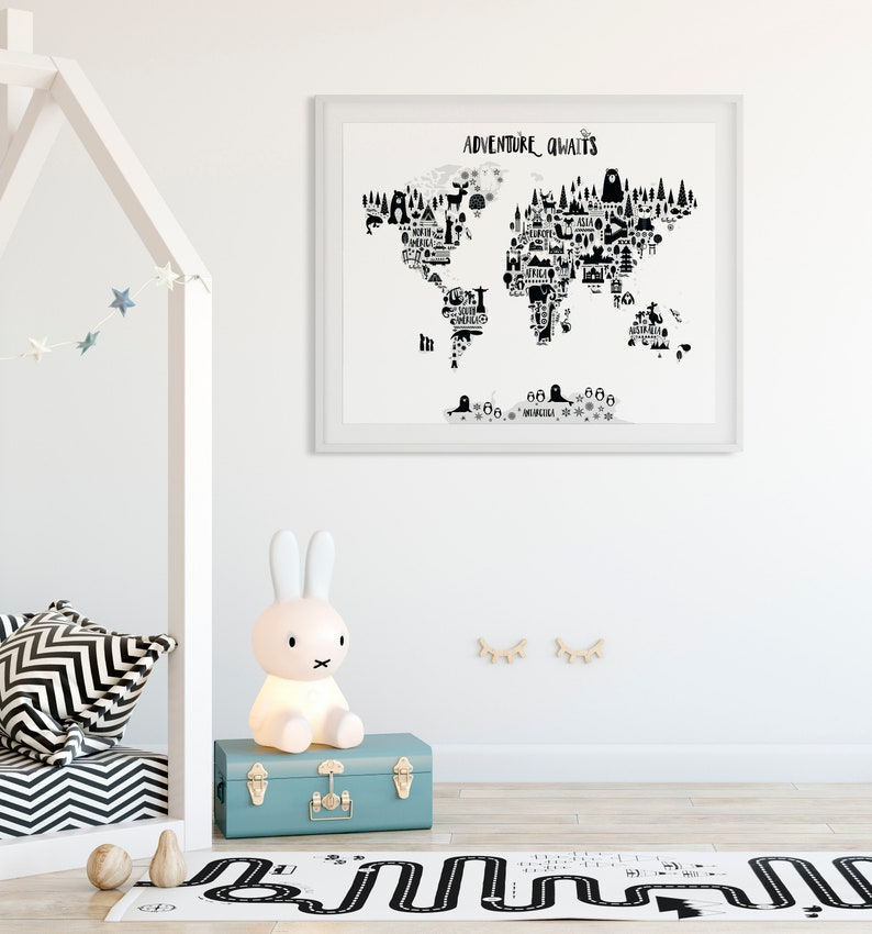 Animal World Map Print Monochrome Nursery World Map image 0