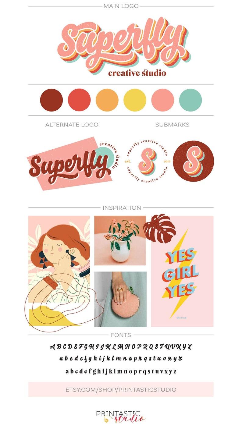 Retro Logo Design Custom Boutique Logo Fun Business Branding image 0