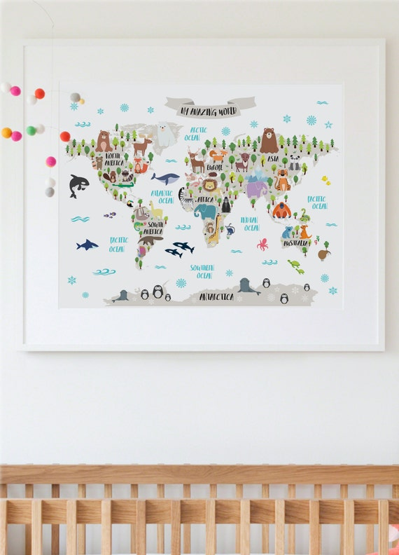 Nursery Printable Animal World Map Kids World Map Poster Etsy Classy Etsy Baby Room