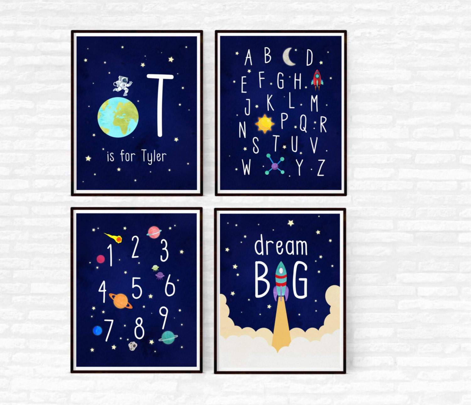 Outer space nursery decor boy nursery set of 4 prints etsy for Outer space decor