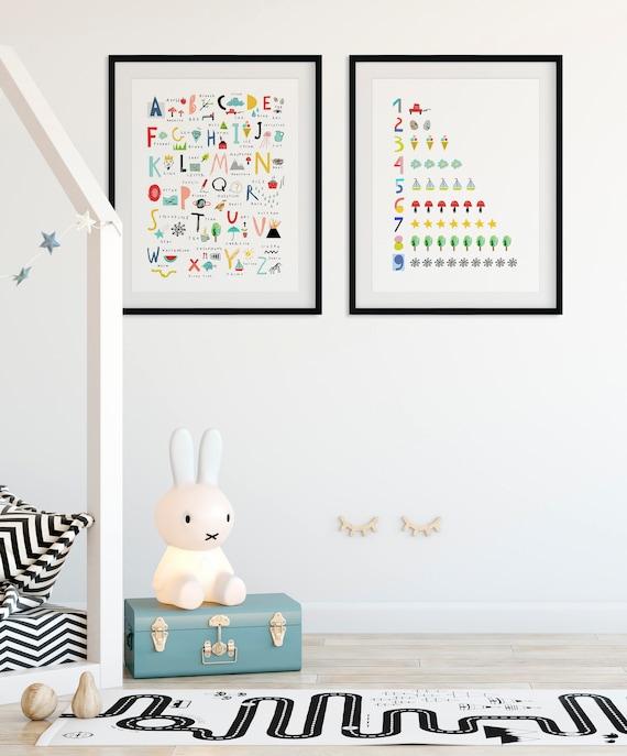 Affiche Alphabet Lot De 2 Art Imprimable Imprimer De La Chambre De Bébé Moderne Ensemble Lettres Chiffres Impression Chambre Decor Abc Salle De Jeux