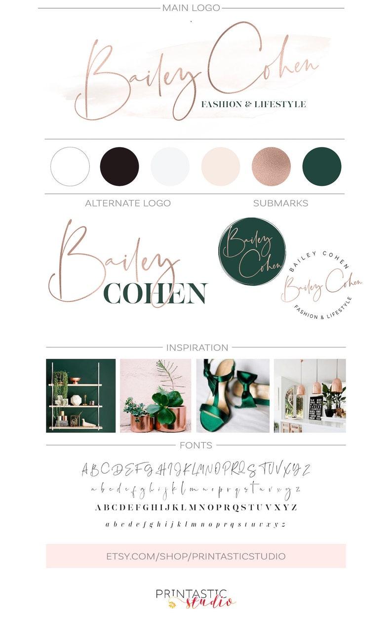 Blush Rose Gold Logo, Minimalist Brand Design, Makeup Salon Photography  Watermark, Makeup Salon Logotype Design, Blog Header Signature Logo