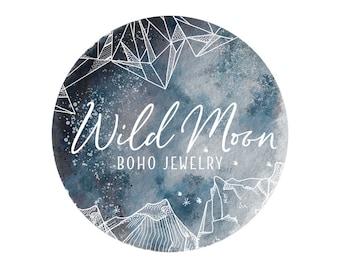 Watercolor Moon Logo Photography Watermark Logo, Modern Boho Logo, Geometric Business Logo Design, Nature Rustic Bohemian Logo, Circle Logo