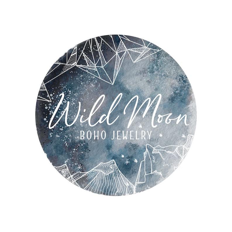 Watercolor Moon Logo Photography Watermark Logo Modern Boho image 0