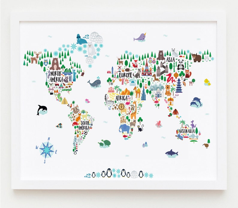 Printable Kids World Map Nursery Wall Art Animal World Map image 0