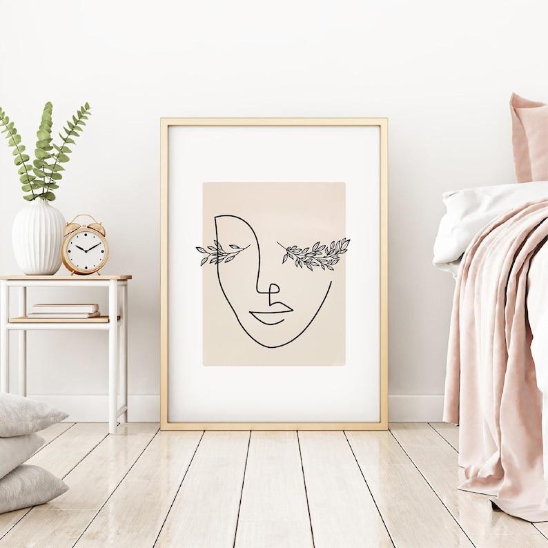 Eyelash Print Abstract Woman Face Line Art Print Line image 0