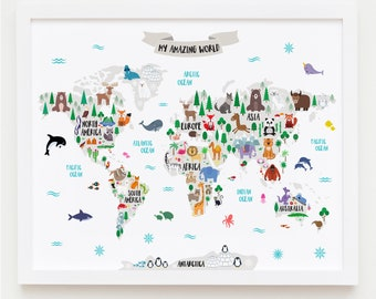 Animal World Map for Kids Map Art World Map Printable Nursery Decor Kids World Map Poster Map For Children Map with Animals Unique Baby Gift