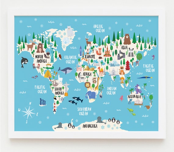 Animal world map print kids world map poster nursery world etsy animal world map print kids world map poster nursery world map large world map nursery art kids room decor playroom map kids map art gumiabroncs Image collections