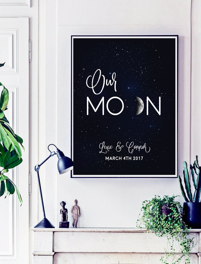 Personalized Wedding Gift for Couple Moon Phase Wall Hanging image 0
