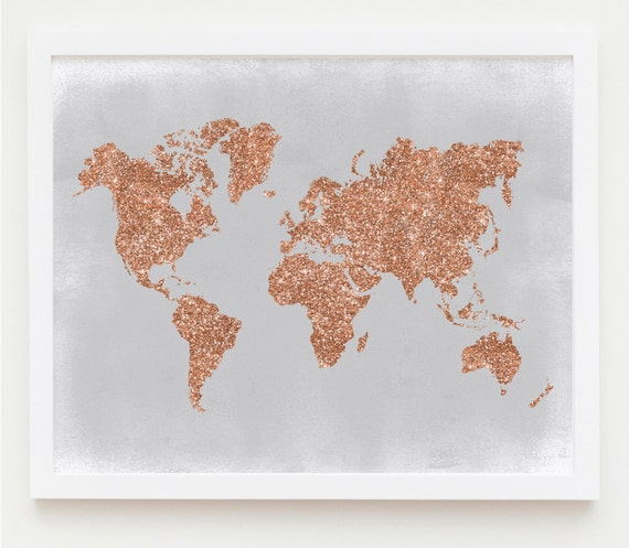Copper Wall Art Rose Gold World Map Poster Grey And Copper Etsy - Grey world map poster