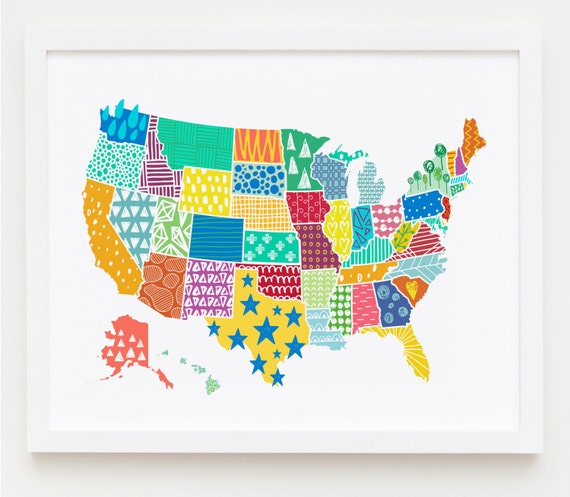 US Map Print USA Map Wall Art Kid\'s Room Art Print USA | Etsy