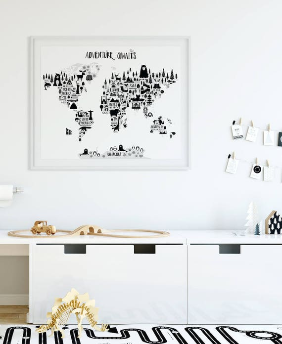 Animal World Map Print Monochrome Nursery