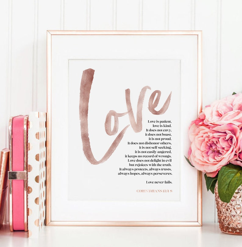 Love is Patient Love is Kind Print Corinthians 13 Bible Verse image 0