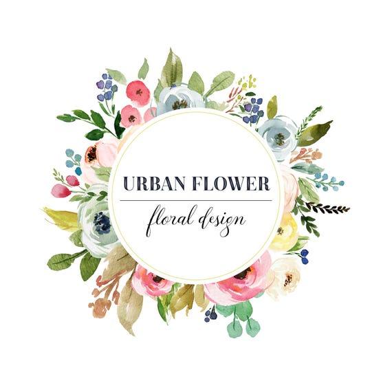 Blumen-Logo Vorgefertigten Logo-Design Floral Frame Logo
