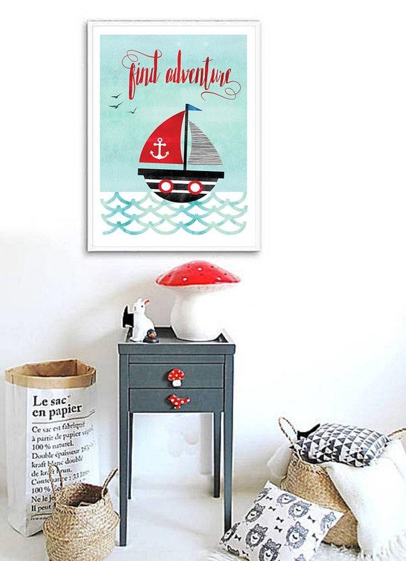 Items similar to Sailboat Print, Nautical Nursery Decor ...