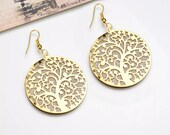 Tree of Life Earrings, Etched tribal earrings, tribal earrings, boho earrings, brass earrings, gold earrings, gypsy esrrings