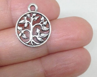 57e18c405 15pcs Silver Tree of Life Charm Hollow, Tree Charms, Family Tree Charm