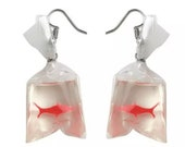 Goldfish Bag Earrings, Novelty Earrings, Fish in The Bag Earrings, Quirky jewelry, Quirky Earrings