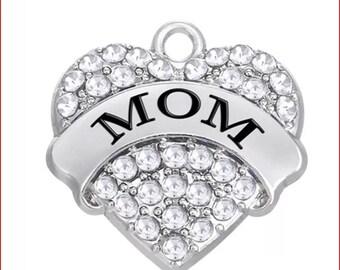 4pcs Paved Rhinestone Heart Mimi Gigi Mom Charm, Love Mimi Gigi Wrestling Charm, Rhinestone Love Mimi Charm