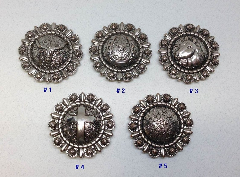 6pcs Round Berry Concho Cowboy Cross Rodeo Saddle Western Cowgirl