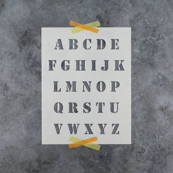 Army Letter Stencil Set Reusable Alphabet Stencil Template Etsy