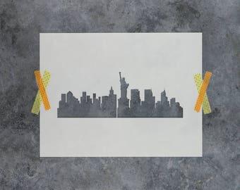 NYC Skyline Stencil - Reusable DIY Craft Stencils of the New York City Skyline