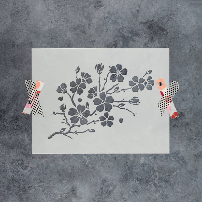 Cherry Blossom Stencil  Reusable DIY Craft Stencils of a image 0