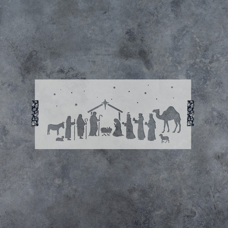 Nativity Stencil  Reusable DIY Craft Christmas Stencils for image 0