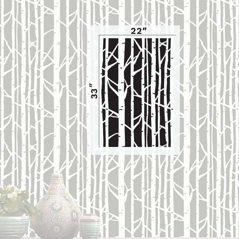 Birch Tree Stencil Reusable DIY Craft Wall Stencils of a Birch Tree 33 x 22