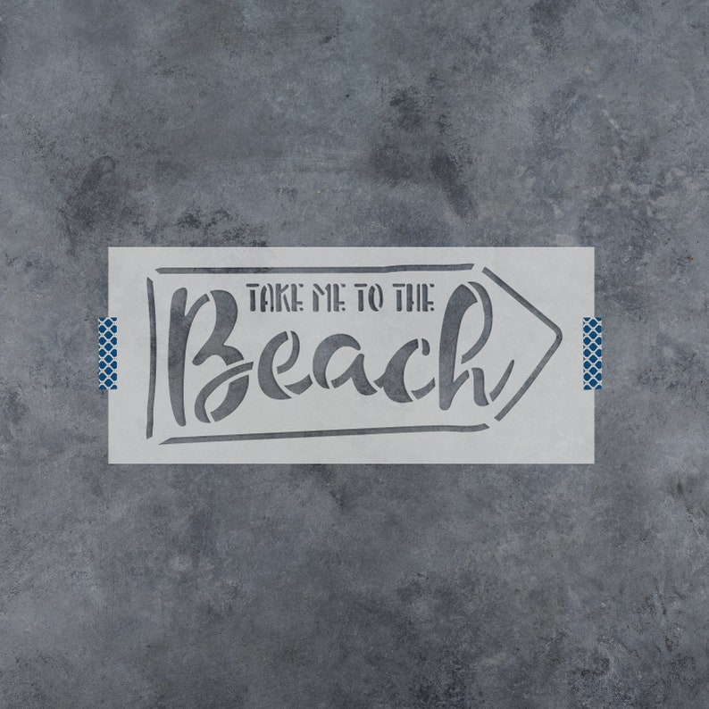 To The Beach Stencil Reusable DIY Craft Stencils of To The Beach with Arrow