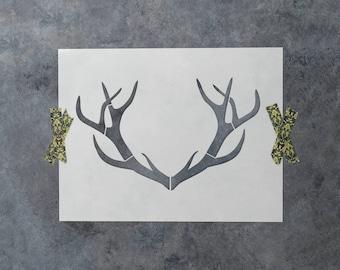 Deer Antler Stencil - Reusable DIY Craft Stencils of a Deer Buck Antlers