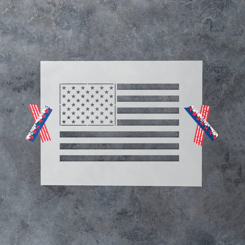 American Flag Stencil  Reusable DIY Craft Stencils of the image 0